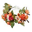 Vivivalue Camellia Flower Wreath Headband Floral Crown Garland Boho for Festival Wedding Orange