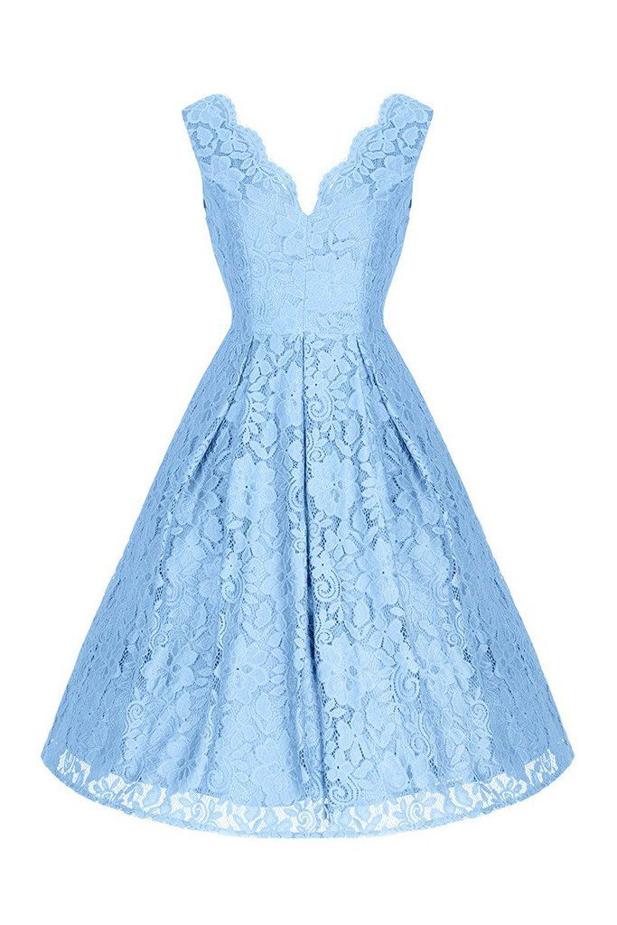 Ice Blue Embroidered Lace Sleeveless V Neck 50s Swing Dress