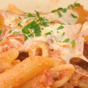 Rachel Rays - Baked Ziti - She makes her own sausage which is included in this recipe