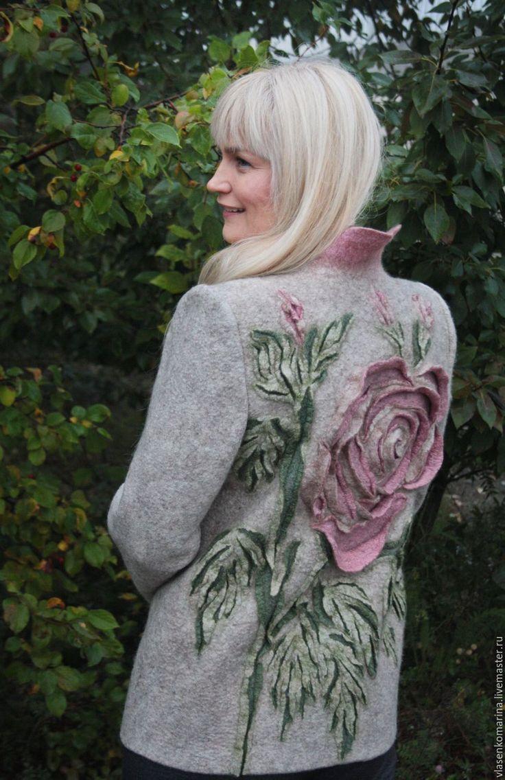 Купить Жакет валяный Пыльная роза - комбинированный, цветочный, бежевый, светло-бежевый, жакет женский