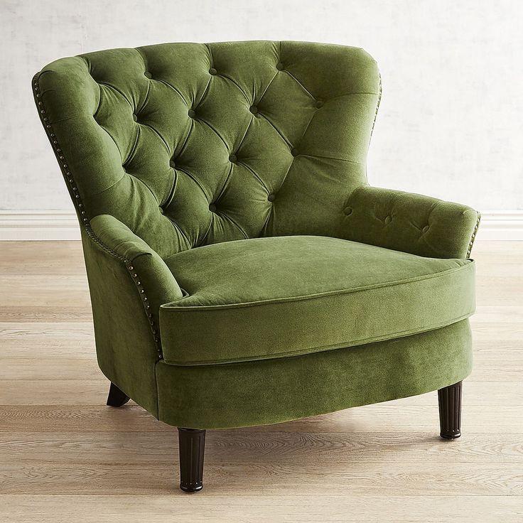 Best Eliza Forest Velvet Armchair Velvet Armchair Green 640 x 480