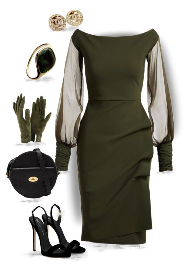 """""""Green Sleeve(outfit only)"""" by runners ❤ liked on Polyvore featuring La Petite Robe di Chiara Boni, Mulberry, Giuseppe Zanotti, Chanel and Sermoneta"""