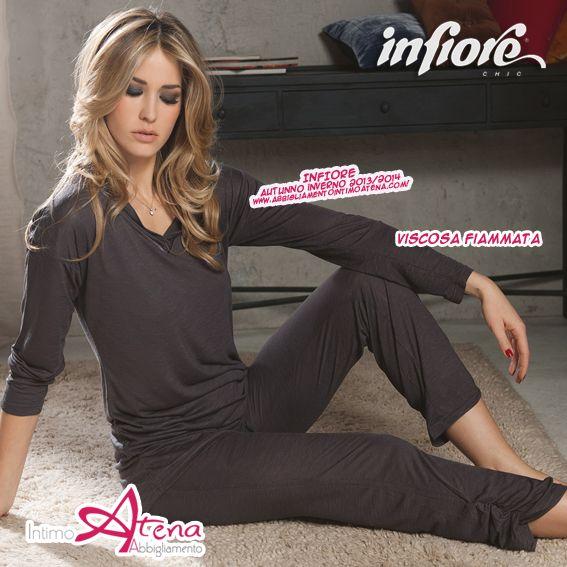 Linea Paris. Pigiama Infiore con manica lunga con collo a V con pantalone a gamba lunga arricciata. http://www.abbigliamentointimoatena.com/130-pigiami-donna