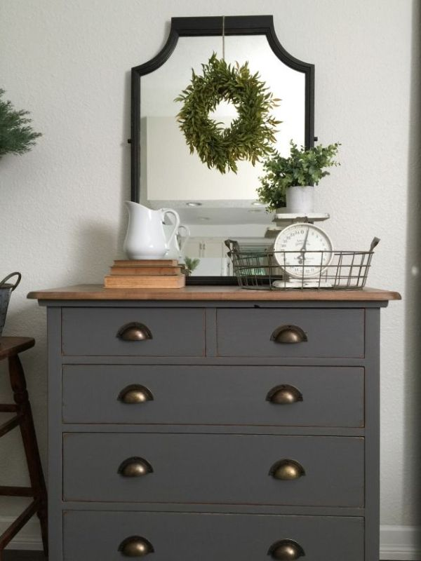Grey Painted Dresser Top Is Mixture Of