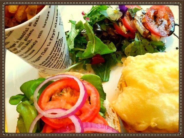 Tempura Halibut Burger + Sunshine = My Happy Place
