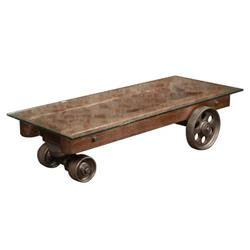 """Vintage Industrial Factory Cart/Coffee Table with Glass Top 62"""" x 26"""" x 1/2"""". The front wheels swivel. Great condition!"""