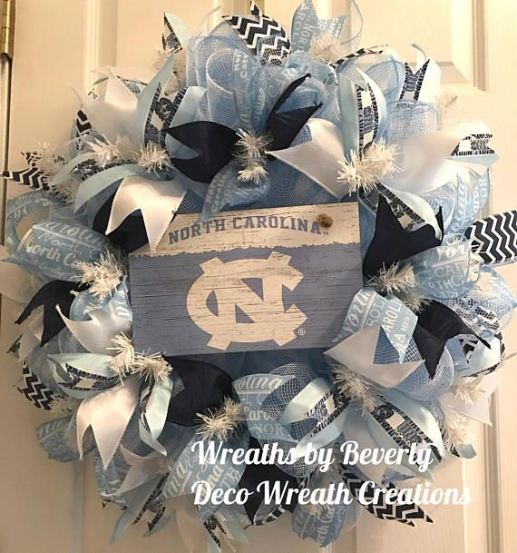 Large DeluxeUNC Wreath University of NC Wreath UNC Tarheels Wreath College Wreath Door Wreath Dorm Wreath Collegiate Wreath Deco Mesh Wreath by decowreathcreations. Explore more products on http://decowreathcreations.etsy.com