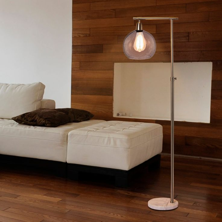 Fangio Lighting's 1561 63 in. Metal & Glass Floor Lamp in a Brushed Steel & Clear Finish W/Marble Base (Includes Bulb) | Overstock.com Shopping - The Best Deals on Floor Lamps