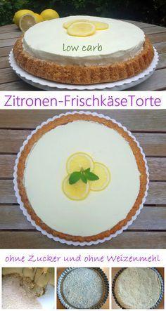 Zitronen-Frischkäse-Torte low carb lecker, fruchtig, frisch undkohlenhydratarm ohne Zucker und Weizenmehl… mehr muss man dazu nicht sagen.  Rezept: ... #low carb #abnehmen #Food #essen #zuckerfrei
