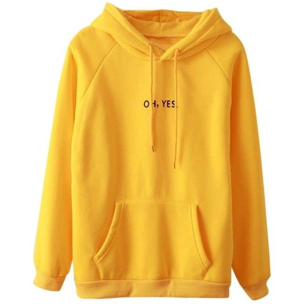 Women's Long Sleeve oh yes Letter Pullover Hoodie Ladies 2017... ($18) ❤ liked on Polyvore featuring tops, pullover top, yellow pullover, yellow top, long sleeve tops and long sleeve pullover