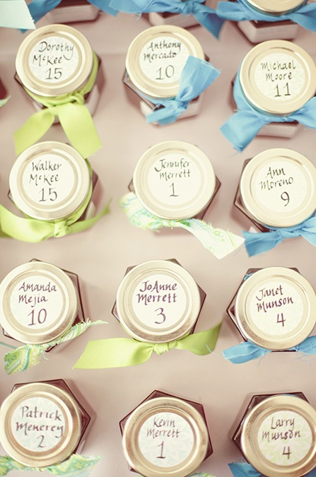 Jam Jars: Love the idea of jam jars as place cards! (Photography by Brandon Kidd, via grey likes weddings)