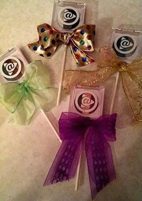 Mary Kay at Play lollipops. You can also use an eye crayon or lip crayon as the base. Great Idea!