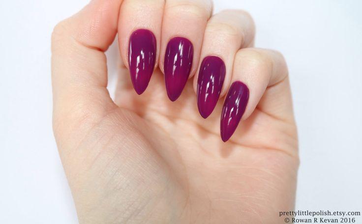 Purple stiletto nails, Fake nail, Stiletto nail, Kylie jenner, Black stiletto nail, Press on nail, Acrylic nail, Fake nail stiletto by prettylittlepolish on Etsy https://www.etsy.com/listing/223156280/purple-stiletto-nails-fake-nail-stiletto