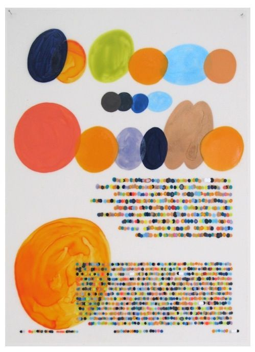 In her Color Codification Dot Drawings, Lauren DiCioccio creates artwork out of printed magazine pages, employing a sort of color-driven Morse Code method. The result is a media-induced pointillism.