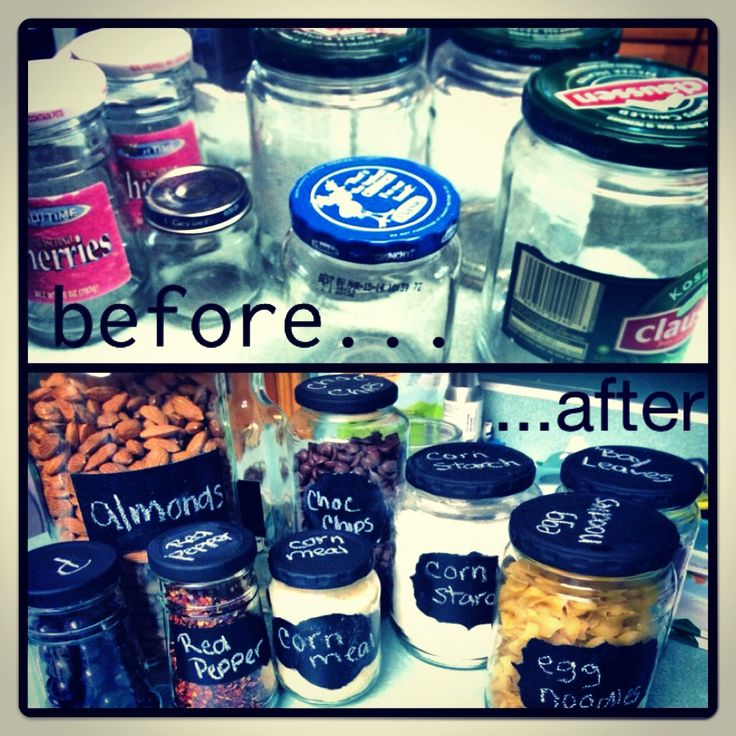 DIY chalkboard canisters. Upcycle those old pickle jars! (Tip from the blog--use acrylic paint for the base coat of the labels and for the lids.) Maybe someday Ill take the labels off my jars and do something like this.