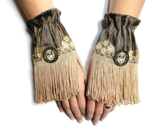 Cuffs, victorian gothic cuffs boudoir women accessories, silk fringe appliqued, textile jewelry, charleston, print, 20s, Lolita wrist cuffs