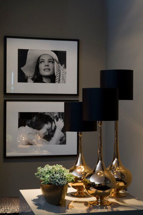 Love the gold finish table lamps with the jet black shades.....makes them space!