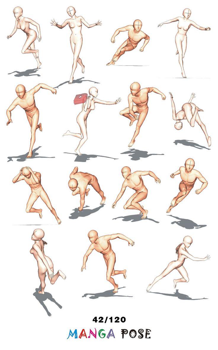 Tutorial Drawing Manga pose. Big posebook for manga anime character : Running poses