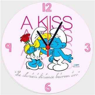 Şirinler - Bir Öpücük - Kendin Tasarla - Duvar Saati 27cm