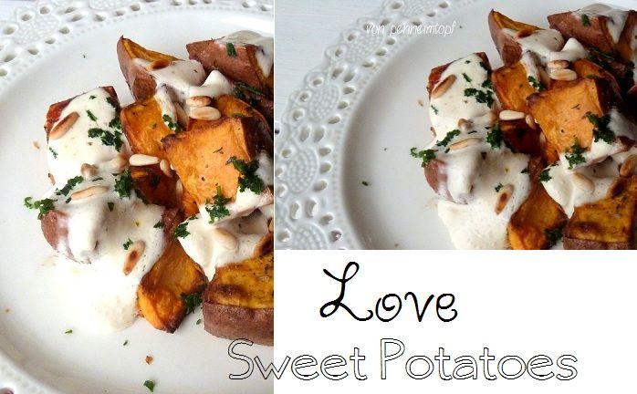 Penne im Topf: Geröstete Süßkartoffeln mit gebräunter Butter, Joghurt und Pinienkernen