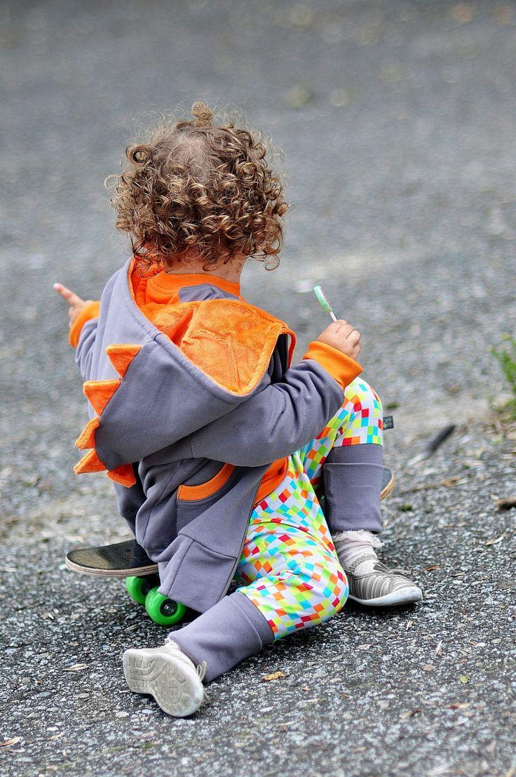 Boy Girl Jacket DINO Orange - Dinosaur/Dragon/Animal Hoodie Jacket Coat, Sweatshirt, Costume, Dress Up, Organic kids clothes, Toddler by LoffLoff on Etsy
