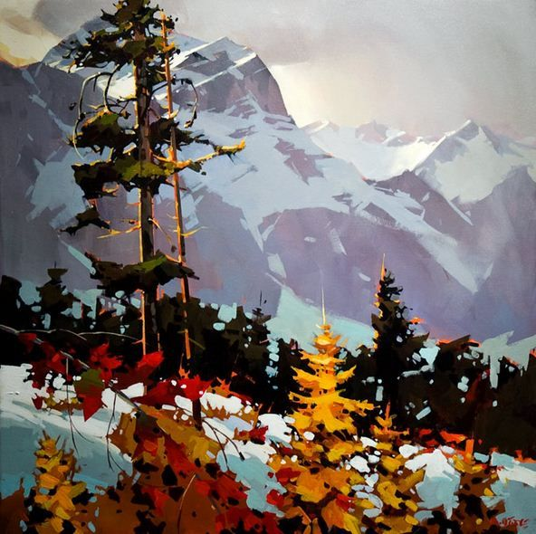 Michael O'Toole. Акриловая живопись. Colours Along the Columbia Icefield Parkway. Акрил. 40х40 дюймов