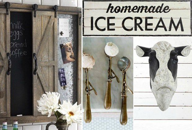 COUNTRY CREAMERY The accent pieces, decor, and wall art in today's event - Country Creamery - will remind you of an old fashioned dairy farmstead kitchen.   Keep your family organized and informed with our Sliding Barn Door Wall Organizer; add vintage charm and style to your decor with our Rustic Wood Homemade Ice Cream Sign; remind yourself of simpler times with our Vintage Style Ice Cream Scoop; and create a gorgeous farmhouse focal point with our Black and White Cow Head Wall Mount.