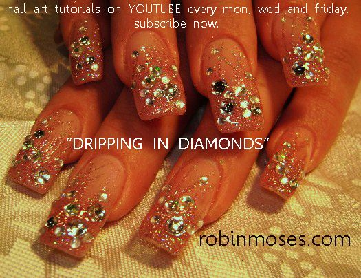 pink vegas nails | pink nails covered in diamonds tutorial