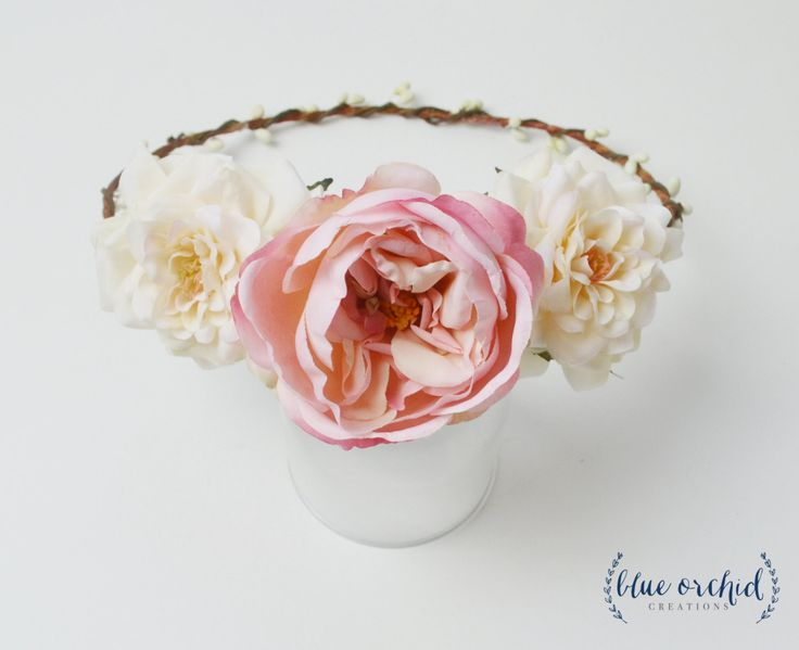 Peony Flower Crown, Boho Wedding, Garden Roses, Pink Peony, Floral Crown, Flower Head Piece, Flower Hair Accessory, Wedding Crown, Crown by blueorchidcreations on Etsy