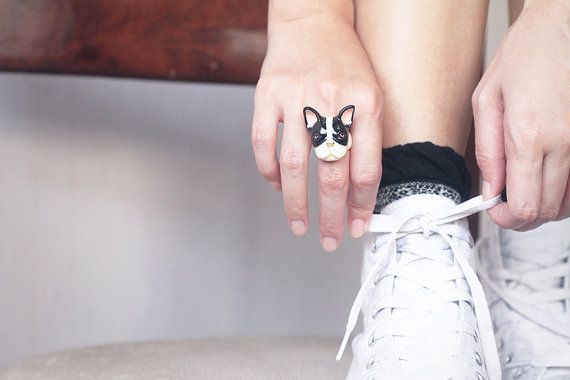 French Bulldog Ring Black and White by GOODAFTERNINE on Etsy, $54.00