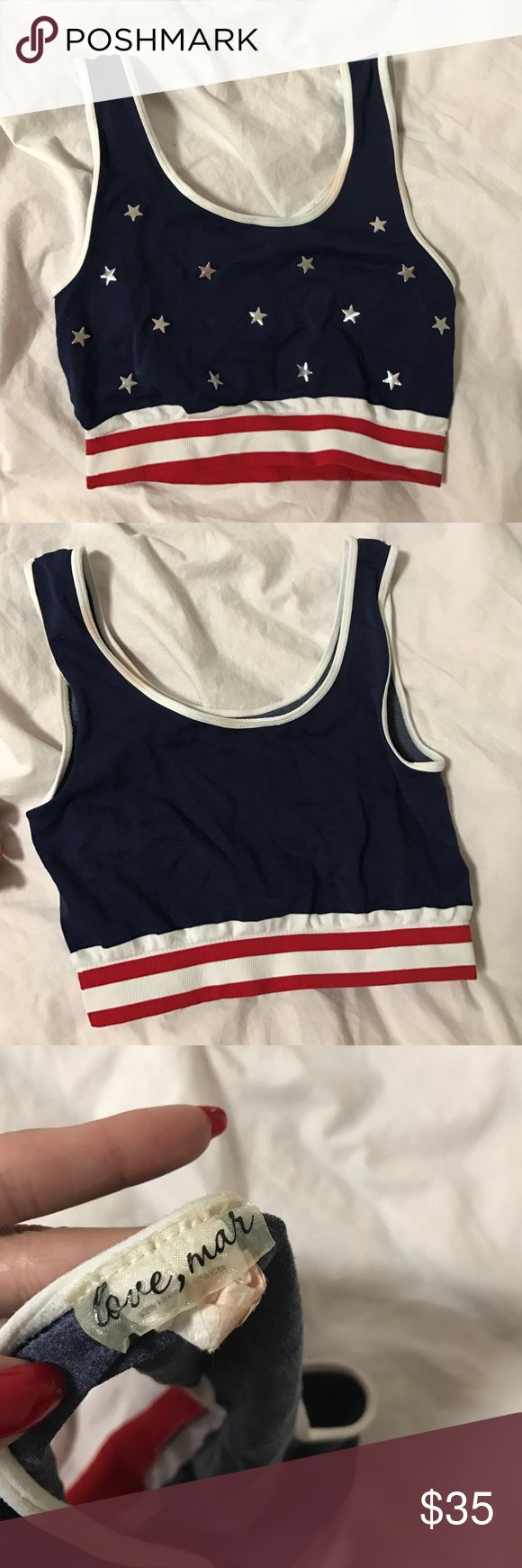 LF American flag crop top 🇺🇸 LF flag crop top! Super flattering, worn once for a 4/7 party. LF Tops Crop Tops