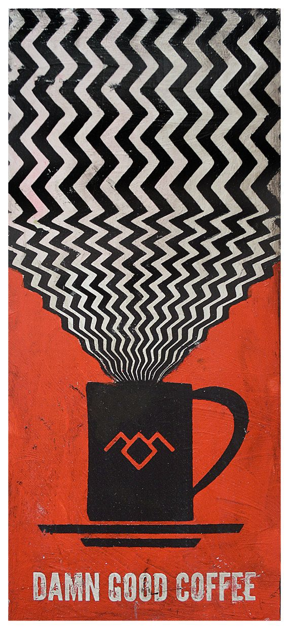 This is a Photo Print, originally a hand-painted Twin Peaks Coffee Art. Twin Peaks, David Lynch and coffee, inspired this Twin Peaks pattern used