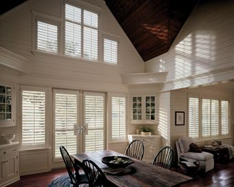 Heritance hardwood shutter with front tilt bar Serving Ann Arbor, MI and the surrounding area. We are the one-stop source for custom window shades, shutters, blinds, draperies, curtains and more. Find purchasing options at www.creativewindows.com