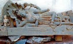 A MASTERPEICE: The 12th century statue of 'Sheshashayi' Vishnu traced at Hulakoti near Gadag.