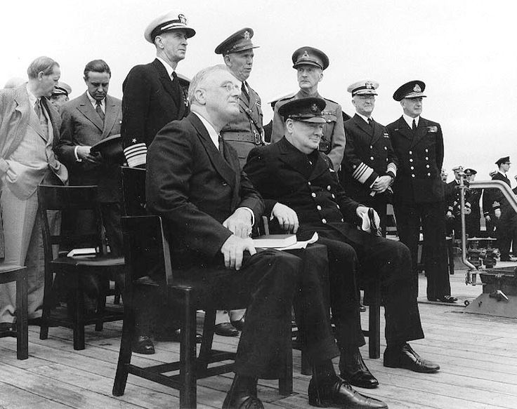 Admiral Dudey Pound (standing, far right) at the Atlantic Conference in 1941