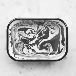 Bornn Marble Enamel Large Baking Dish: A contemporary take on classic enamelware using traditional marbling techniques which arose in Anatolia and date back to the 15th century. Hand produced in Istanbul by Bornn Enamelware