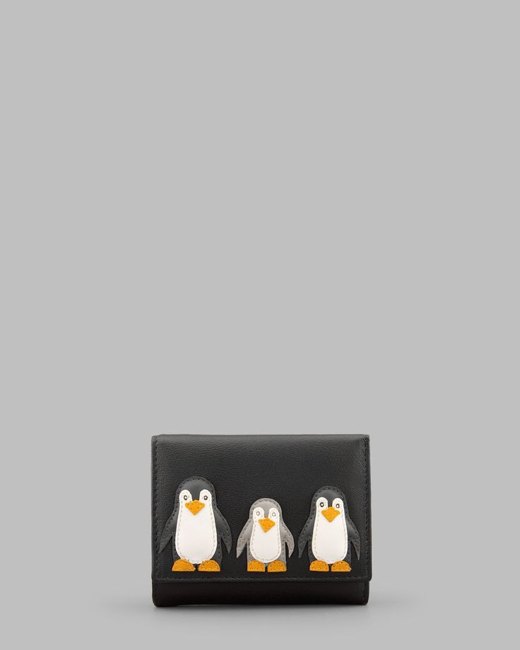 Penguin Pals Black Leather Zip Around Purse by Yoshi