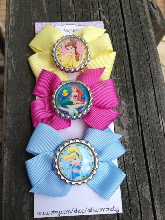 Disney Princess Inspired Bow Set princess party by allisonmcnally, $9.00