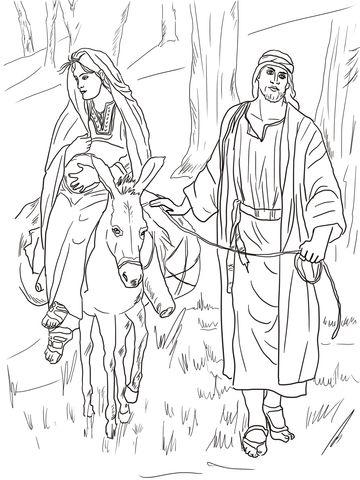 Maria e José na estrada para Belém Página para colorir