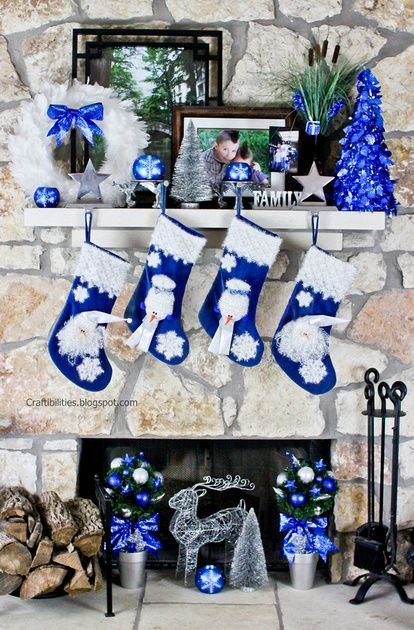Blue and silver fireplace Christmas decor - DIY tutorial - Topiary Ornament Trees - SO CUTE!