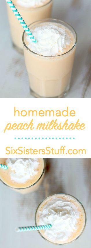 Delicious Homemade Peach Milkshake from SixSistersStuff.com