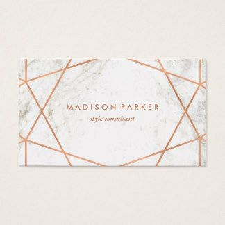 24 best logo images on pinterest modern faux rose gold geometric on white marble business card fandeluxe Image collections