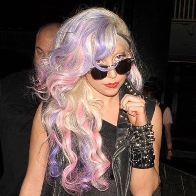 Pink and Purple Streaks In Platinum Hair – Lady Gaga