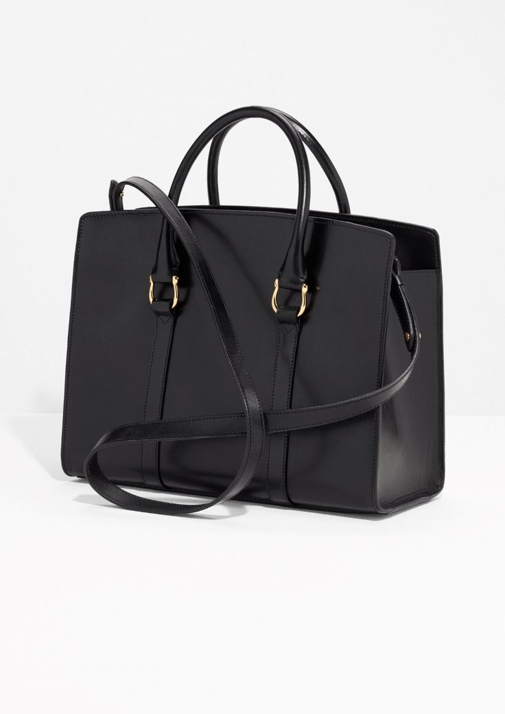 & Other Stories image 3 of Leather City Tote Bag in Black