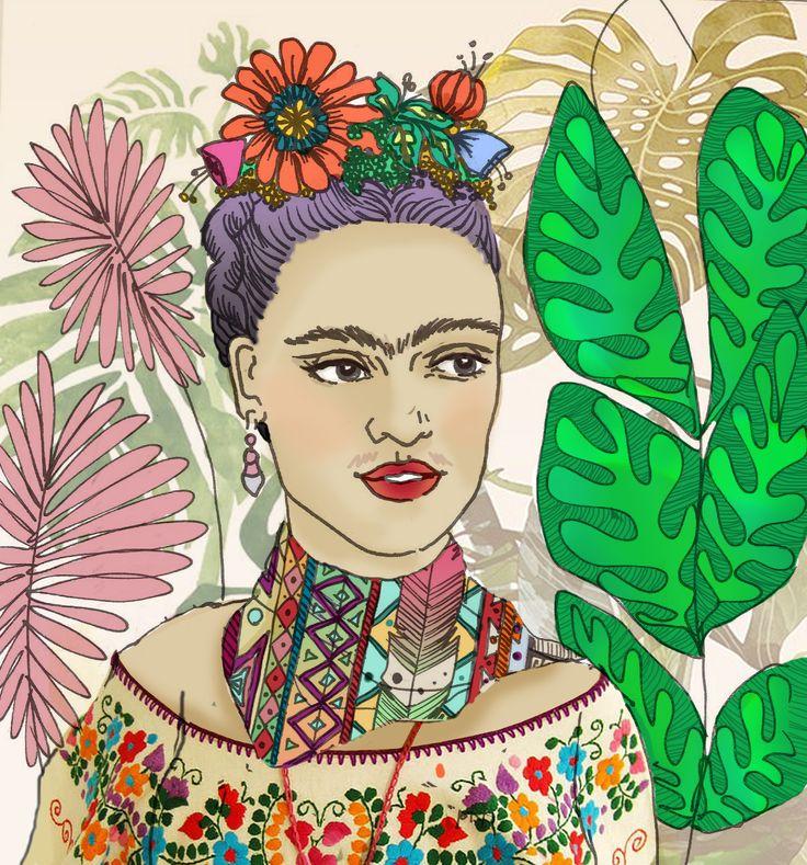 Frida #frida. Si te interesa la ilustración podes escribirme a sol.dlvega@gmail.com. If you like the illustration, please send me an email sol.dlvega@gmail.com