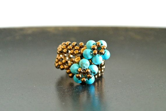 Turquoise Fleurs - Turquoise Beaded Ring via Etsy