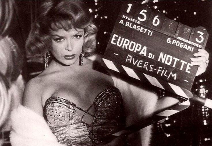 "French transgender revue and burlesque star Coccinelle (Jacqueline-Charlotte Dufresnoy) in a promotional photo for Alessandro Blasetti's ""Europa di notte"" (English title: ""European nights"", 1959)."