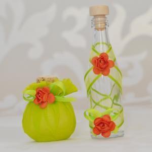 Комплект подаръци за гости - Юзче и бурканче мед с декорация в цвят зелена ябълка