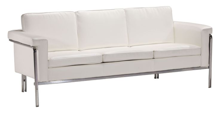 Best Singular Sofa In White Leatherette Chrome Faux Leather 400 x 300