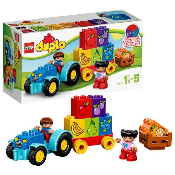 Трактор завелся под окном и ждет своих маленьких хозяев. Мальчик и девочка спешат скорее сесть в машину, чтобы заняться важным делом. Надо собрать 6 кубиков, на которых изображены ягоды и фрукты, в прицеп. Кубики различаются по цвету, а значит малыш запомнит цвета в игровой форме.  Детальки по размеру очень большие, поэтому даже самым маленьким любителям Lego будет интересно и легко играть. Всего в наборе 12 деталей.